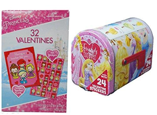 Princess Valentine Cards (32 Cards with Stickers) and Princess Mailbox Bundle