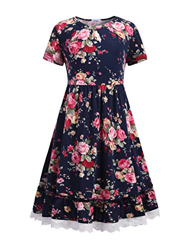 Balasha Girls Summer Flower Dress Swing Short Sleeve Casual Dressesfor 8-9 Years Navy Blue