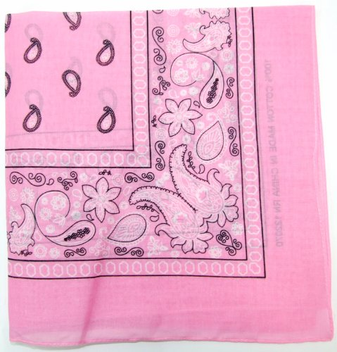 Kaiser Novelty Bandanas Paisley Cotton Bandanas (Light Pink  22 X 22 in) -