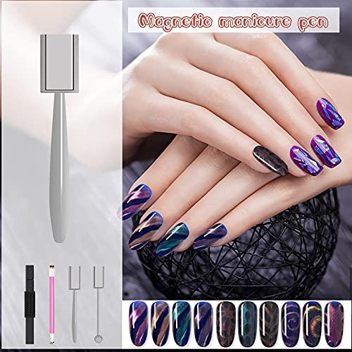 HXS Magnet Nail Art Tool 5pcs 3D Magnetic Stick Double Head Flower Design Magnetic UV Gel Nail Polish Pen Set Manicure DIY&Salon Tools