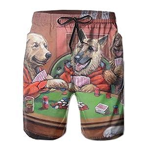 Men's Boardshorts Dogs Playing Poker Swim Trunks Beach Short