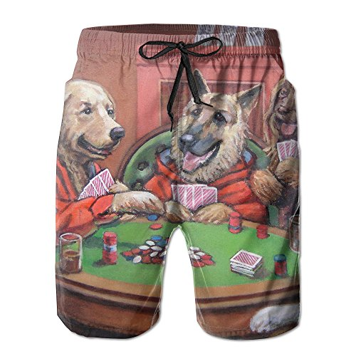 Play Poker Dog (Men's Boardshorts Dogs Playing Poker Swim Trunks Beach Short)