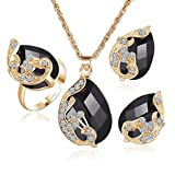 Clearance!Women Party Necklace,Todaies Fashion Jewelry Sets For Women Crystal Necklace Ring Earrings Wedding 4 Colors (3PCS, Black)