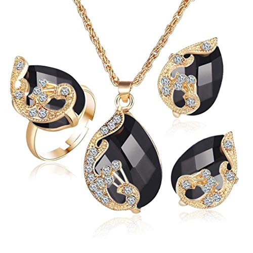 - Clearance!Women Party Necklace,Todaies Fashion Jewelry Sets For Women Crystal Necklace Ring Earrings Wedding 4 Colors (3PCS, Black)