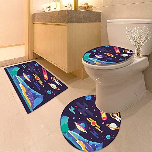 Printsonne 3 Piece Toilet mat Set Cosmos Universe Themed Solar System Stardust Comet UFO Planetary Illustration Multicolor 3 Piece Shower Mat Set by Printsonne