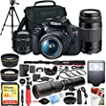 Canon EOS Rebel T7 Digital SLR Camera 18-55mm f/3.5-5.6 is II Kit Bundle with 500mm Preset Telephoto Lens, 32GB Memory Card, Camera Bag, Paintshop Pro and Accessories