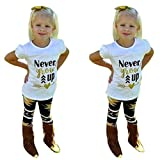 EKIMI Toddler Baby Girls Outfit Clothes Letter Print T-shirt Tops+Long Pants (2T) offers