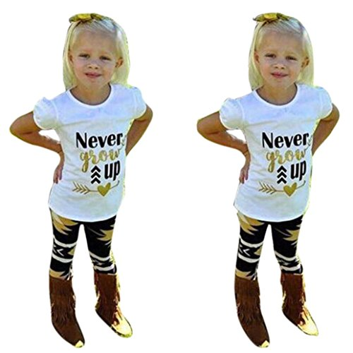 EKIMI Toddler Baby Girls Outfit Clothes Letter Print T-shirt Tops+Long Pants (6T)