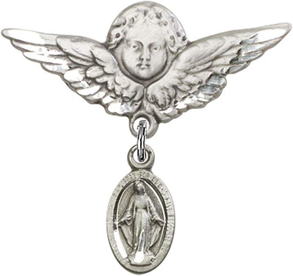 DiamondJewelryNY ベビーバッジ 奇跡のチャームと天使と翼バッジピン