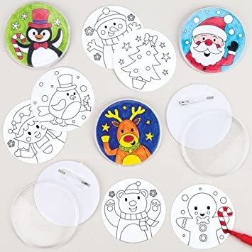 Baker Ross Broches navideños para Colorear, Decoraciones y Manualidades Infantiles (Pack de 10).: Amazon.es: Juguetes y juegos