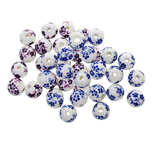 Homyl 40Pcs Purple+ Blue Mix Chinese Ceramic Charm Beads Floral Fit European Charm Bracelet for Jewelry Making Vintage Beads 12mm