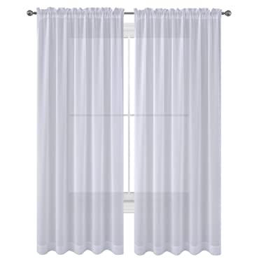 WPM Drape/Panels/Treatment Beautiful Sheer Voile Window Elegance Curtains for Bedroom & Kitchen, 60  inch x 84  inch, Set of 2 (White)