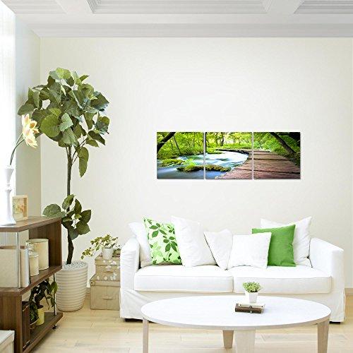Bilder-Landschaft-Brcke-Wandbild-Vlies-Leinwand-Bild-XXL-Format-Wandbilder-Wohnzimmer-Wohnung-Deko-Kunstdrucke-90-x-30-cm-Grn-3-Teilig-100-MADE-IN-GERMANY-Fertig-zum-Aufhngen-607434a