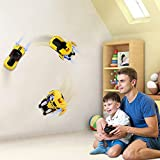 Baztoy Remote Control Wall Climbing Car Transformer Toys One-Button Transforms 360° Rotating Toy Cars with LED Head Light, Intelligent Glowing USB Cable for Boys Girls Gifts