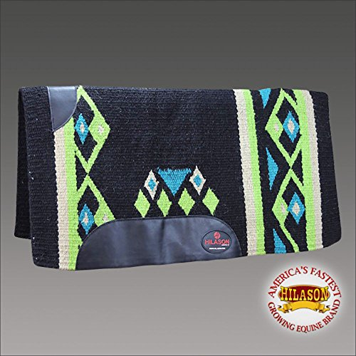 HILASON Western New Zealand Wool Horse Saddle Blanket Black Green