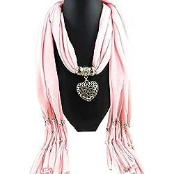 Amazon 2018 Women Winter Heart Gemstone Necklace Scarf Lady Tassel Warm Scarves HunYUN