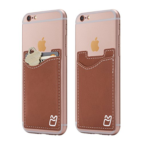 (Two) Genuine Leather Cell Phone Pocket Stick on Wallet Card Holder for iPhone, Android and all smartphones (Brown)