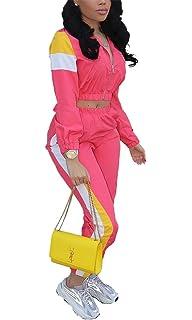 af8187900c11 VOIKERDR Women 2 Piece Outfits Tracksuit Jumpsuits Lightweight Windbreaker  Pullover Jacket Crop Top Pants Set