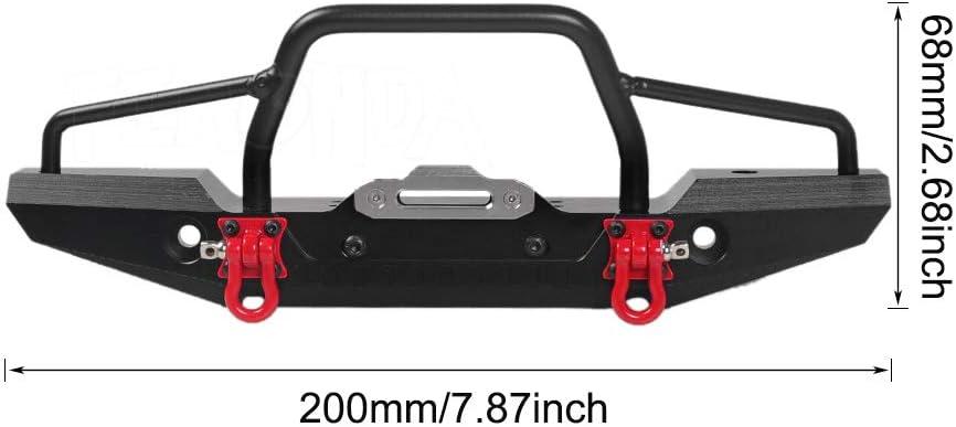 RCPLAGA Front Bumper LED Light for 1//10 RC Crawler SCX10 90046 TRX4 TRAXXAS RC Crawler Aluminum Bumper Mount with Winch
