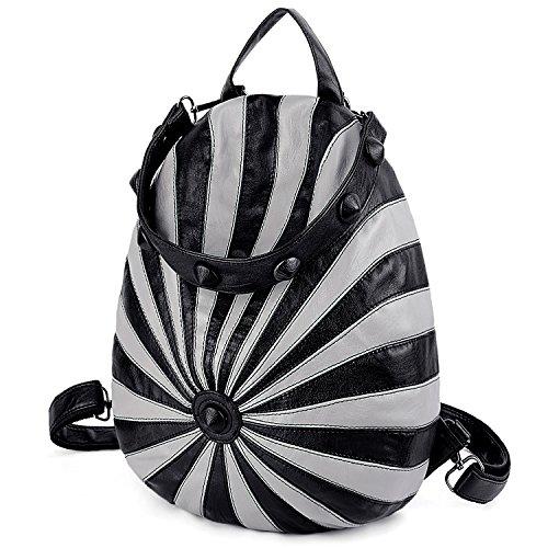 Casual de amp; de Bolso Moda UTO Mochila Antirrobo Rayas Cuero Forma PU de 2 Diseño Sombrero Negro Hombro Señoras Gris U6YxUnA