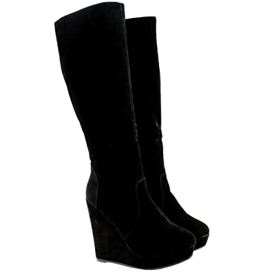 WOMENS WEDGE HEEL SUEDE TALL KNEE HIGH STRETCH GUSSET SHOE BOOTS ...
