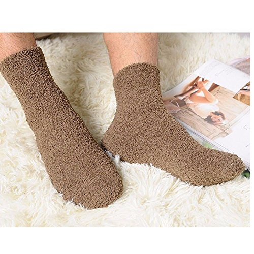 Extremely Cozy Cashmere Socks Women Men Winter Warm Thick Floor Socks Fluffy Solid Six Colors (Coffee)