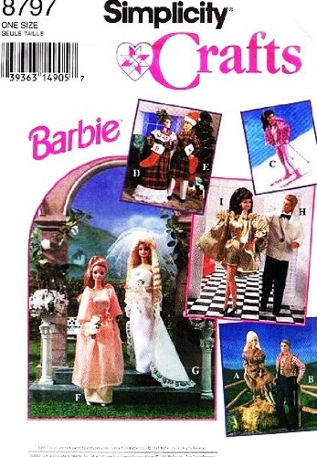 Simplicity Crafts Pattern 8797 Wardrobe for 11 1/2-Inch Barbie Doll & Friends -