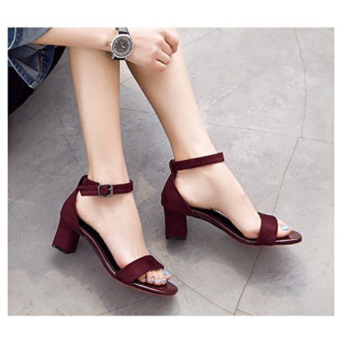 Sandals Ladies Red Heel Comfy Peep Fashion T Slippers Chunky Womens Ankle Toe Buckle Pumps JULY Strap Dress Evening EWqnFY