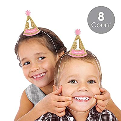 Big Dot of Happiness 1st Birthday Girl - Fun to Be One - Mini Cone First Birthday Party Hats - Small Little Party Hats - Set of 8: Toys & Games