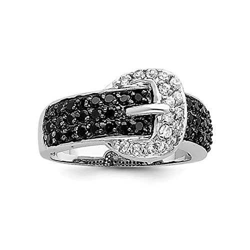 ICE CARATS 925 Sterling Silver Black Clear Cubic Zirconia Cz Buckle Band Ring Size 8.00 Fine Jewelry Ideal Gifts For Women Gift Set From Heart by ICE CARATS