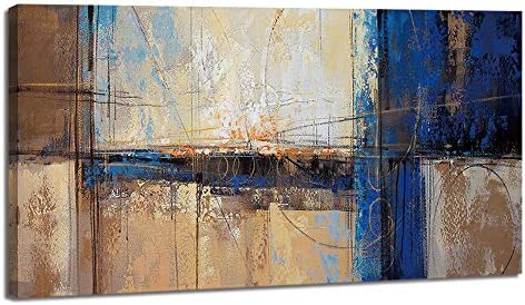 Large Abstract Canvas Wall Art Decor Living Room Office Brown Blue Themed Picture Prints Artwork Big Home Bedroom Wall Decoration