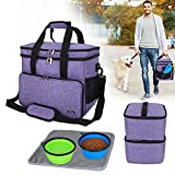 Teamoy Double Layer Dog Travel Bag with 2 Silicone Collapsible Bowls, 2 Food Carriers, 1 Water-Resistant Placemat, Pet Supplies Weekend Tote Organizer, Large, Purple