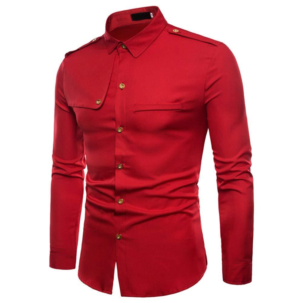 Rouge XXL Trydoit Chemise à Manches Longues Chemise Militaire Slim Fit Slim Fit Décontracté