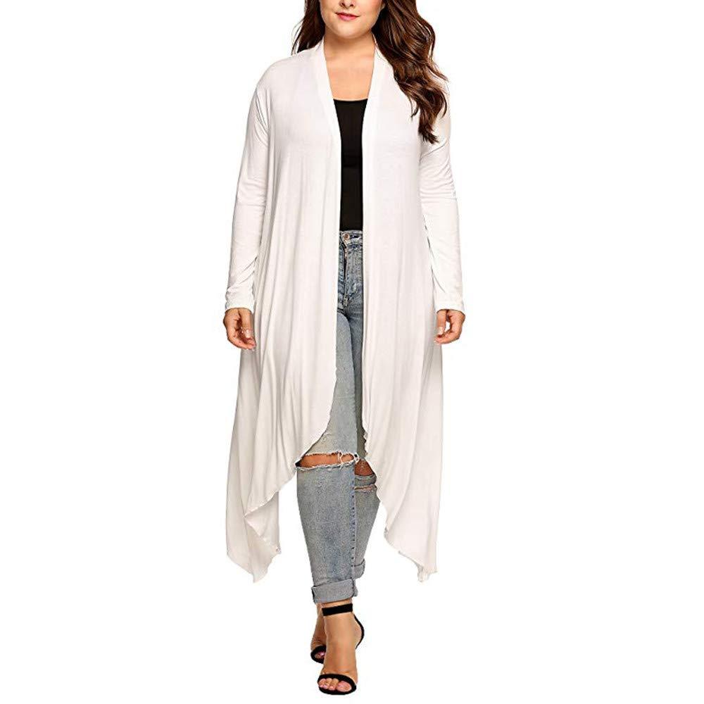Women's Plus Size Waterfall Asymmetric Coat Long Sleeve Drape Open Long Maxi Cardigan