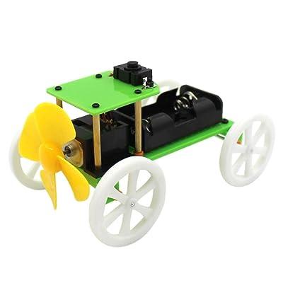 ????❤VéHicule à éNergie éOlienne U????❤Lolittas Kit De Jouet Gizmo Scientifique Bricolage Assemblé à La Main Diy Car Enfants Gadget éDucatif Hobby Wind Power Toy