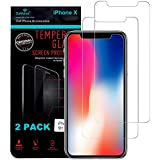 iPhone X Screen Protector, DaVoice (2 Pack) iPhone X Tempered Glass Screen Protector for Apple iPhone 10 X Screen Protector Tempered Glass Guard, Phone Case Friendly, 3D Touch, Temper Anti Fingerprint