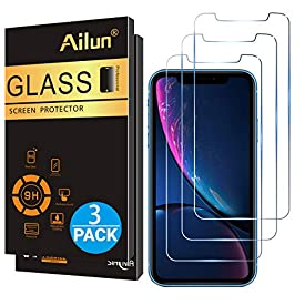 Ailun Screen Protector for iPhone XR (6.1inch 2018 Release),[3 Pack] Tempered Glass Screen Protector Compatible with iPhone XR (6.1inch Display),Anti-Scratch,Advanced HD Clarity Work Most Case