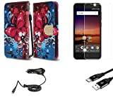 ZTE Blade Vantage | ZTE Avid 4 | ZTE Tempo X - Bundle: Synthetic Leather Wallet Carrying [Card Slots] Case - (Butterfly Symphony), Glass Screen Protector, Car Charger, Micro USB Cable, Atom Cloth