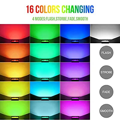 LE 50W LED RGB Flood Light, Multi Color, IP65 Waterproof, 16 Colors 4 Lighting Modes Security Light