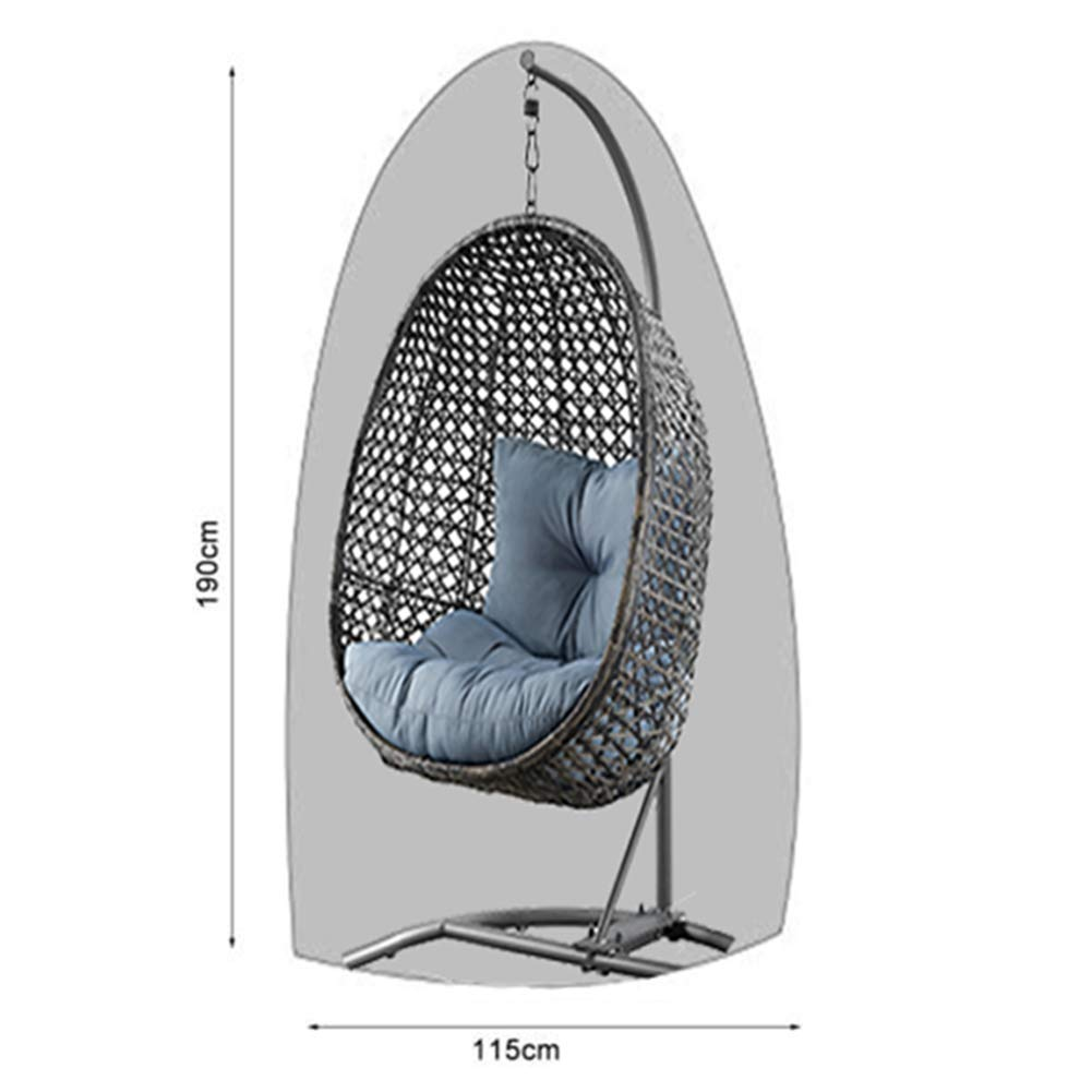 Silvotek Patio Hanging Chair Cover - Waterproof Outdoor Hanging Egg Chair Cover with Durable Hem Cord, 210D Oxford Wicker Egg Swing Chair Cover Patio Swing Chair Cover (Gray)