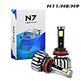 Tencasi 2PCS H11 H9 H8 LED Headlight Bulbs Kit, N7 Series 80W 8000LM 6000K Cool White Plug and Play Conversion Kits, Driving Lamp Super Bright COB LED CHIPS