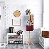 High-Grade Wooden Tree Coat Rack Stand, 6 Hooks