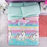 LIMITED EDITION UNICORNS KIDS GIRLS REVERSIBLE BEDSPREAD 3 PCS QUEE SIZE