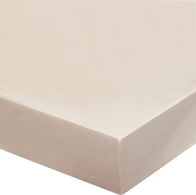 Blanc des Vosges Uni 57 hilos sábana bajera de algodón, algodón ...