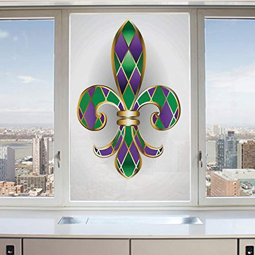 3D Decorative Privacy Window Films,Gold Colored Lily Symbol with Diamond Shapes Royalty Theme Ancient Art,No-Glue Self Static Cling Glass Film for Home Bedroom Bathroom Kitchen Office 17.5x36 Inch