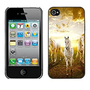 Caucho caso de Shell duro de la cubierta de accesorios de protección BY RAYDREAMMM - Apple iPhone 4 / 4S - Clouds Horses Nature Sunset Mustang