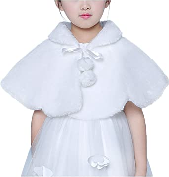 Flower Girl Faux Fur Shawl Wraps Cape Shrug Cloak Kids First Communion Off White