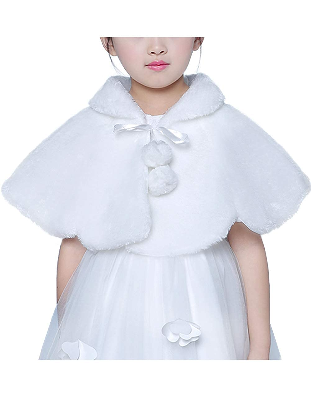 Flower Girl Faux Fur Shawl Wraps Cape Shrug Cloak Kids First Communion Off White HSD235-Ball