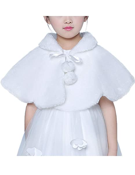 3dfb3818b7 Amazon.com: Flower Girl Faux Fur Shawl Wraps Cape Shrug Cloak Kids First  Communion Off White: Clothing