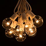 Outdoor Globe String Lights (50 Foot, LED G50 Clear - White Wire - 2 Inch .6 Watt Bulbs)